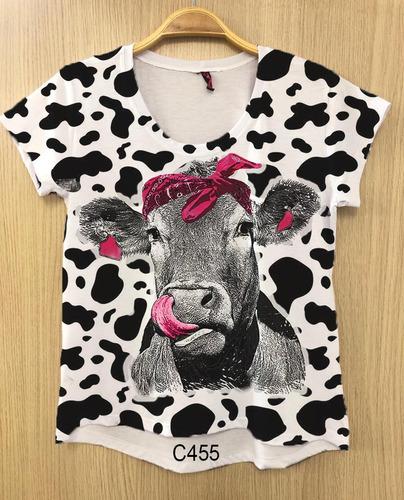 camiseta feminina vaca bandana rosa country tshirt