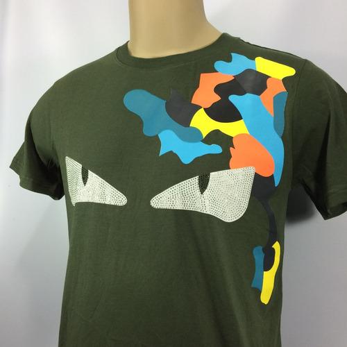 camiseta fendi bag bugs green embellished cotton