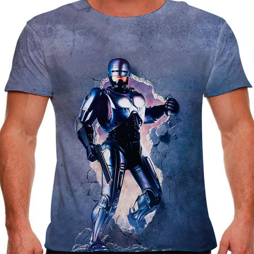 camiseta filme clássico robocop 1987 masculina