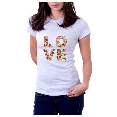 camiseta flores love