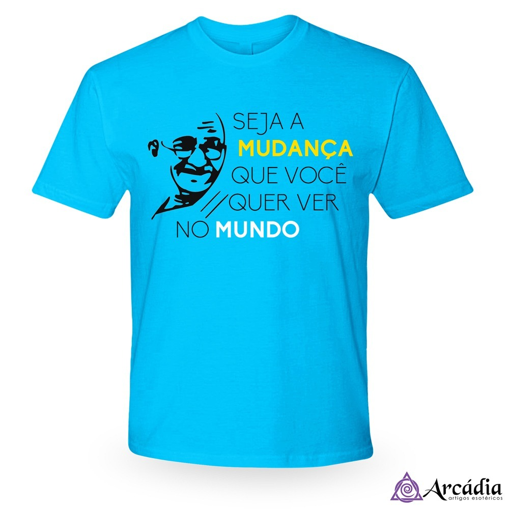 52979afc9614 Camiseta Frase De Gandhi - Azul - R$ 40,11 em Mercado Livre