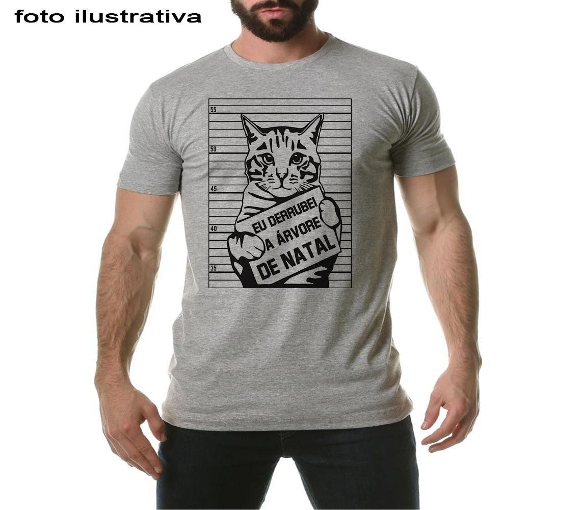 7d392d9c0 camiseta frases engraçadas natal gato eu derrubei a arvore. Carregando zoom.