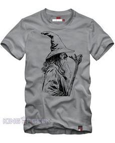 a067b02234ec37 Camiseta Gandalf O Senhor Dos Anéis-hobbits Cinza Mescla