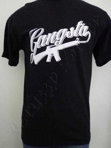 camiseta gangsta 41 rap hip hop p logo fuzil crazzy store