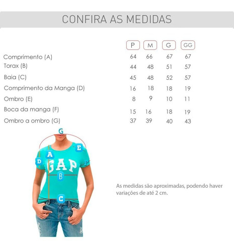 camiseta gap feminina 100% original grafic gap orlando