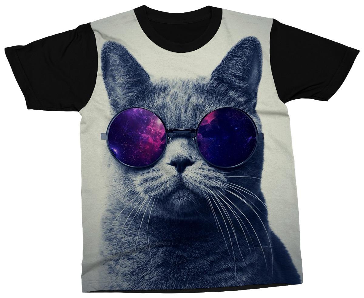 Camiseta Gato De Óculos Escuros Moderno Cat Blusa Camisa - R  89,00 ... e87e2f3ccf