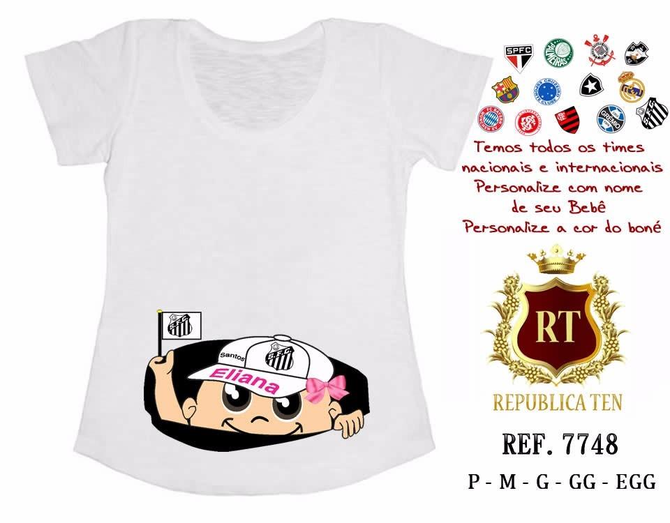 camiseta gestante bebê espiando personalizada time santos. Carregando zoom. d35715ccc338f