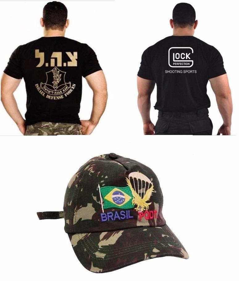 Camiseta Glock + Boné Paraquedista + Camiseta Israel Defense - R  149 2ec55e4bad4c6