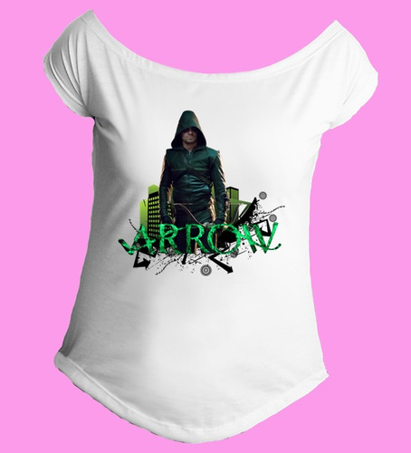 camiseta gola canoa arqueiro verde arrow serie oliver 01