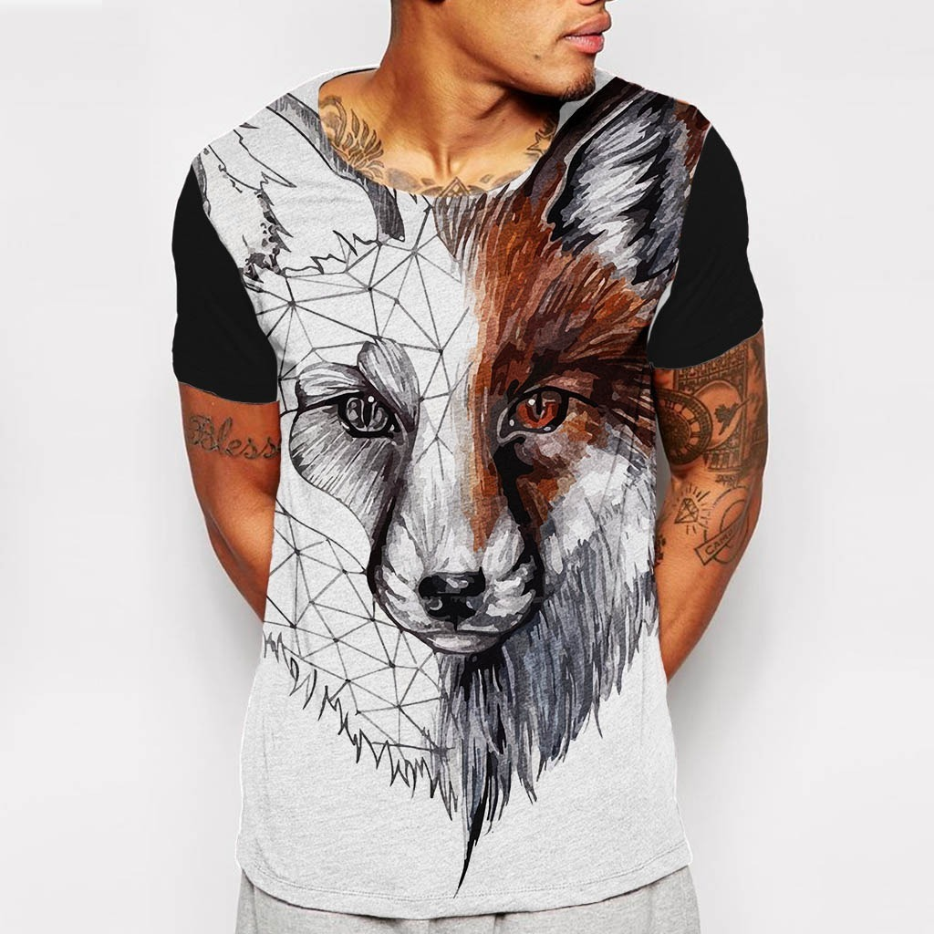 Camiseta Gola Canoa Line Fox Raposa Linha Desenho Tumblr R 89