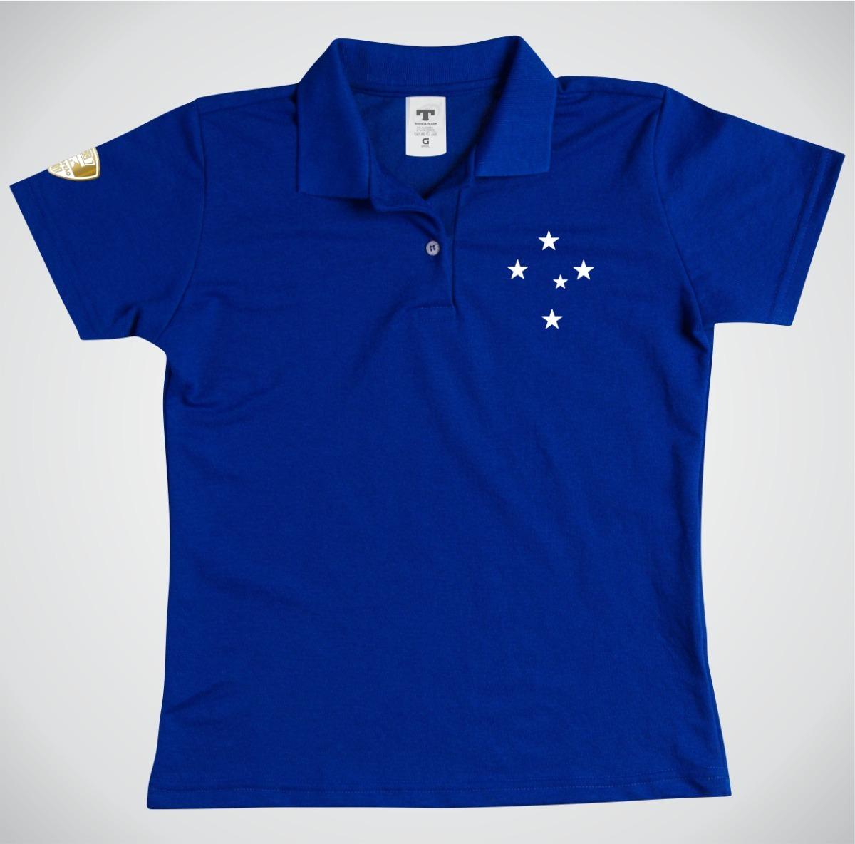 65afd09b53 camiseta gola polo feminina cruzeiro baby look. Carregando zoom.