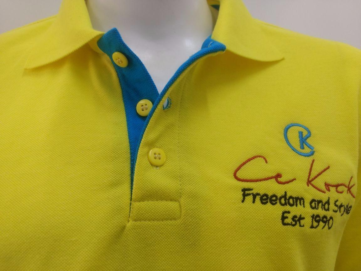 7945431440 camiseta gola polo masculina brasão amarelo piquet ck. Carregando zoom.