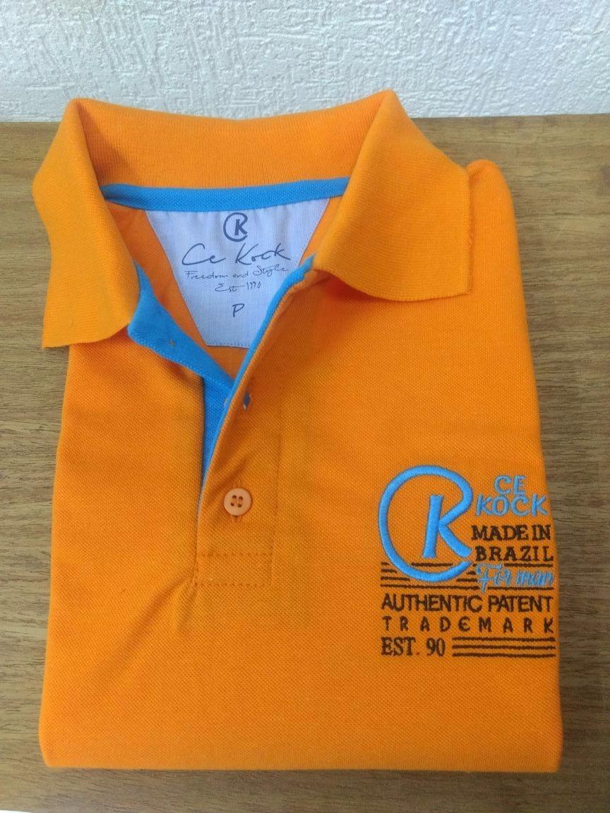 fb2cef3368 camiseta gola polo masculina brasão laranja piquet cekock. Carregando zoom.