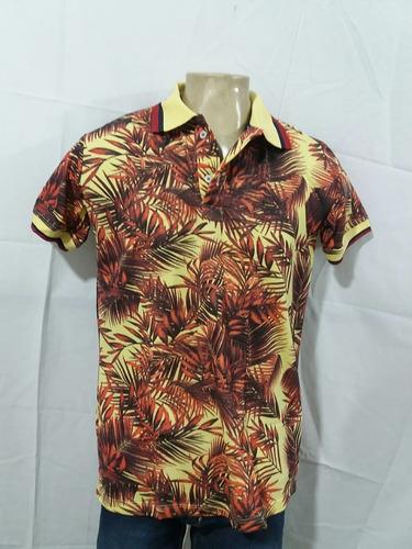 camiseta gola polo piquet folhagem barata promoção