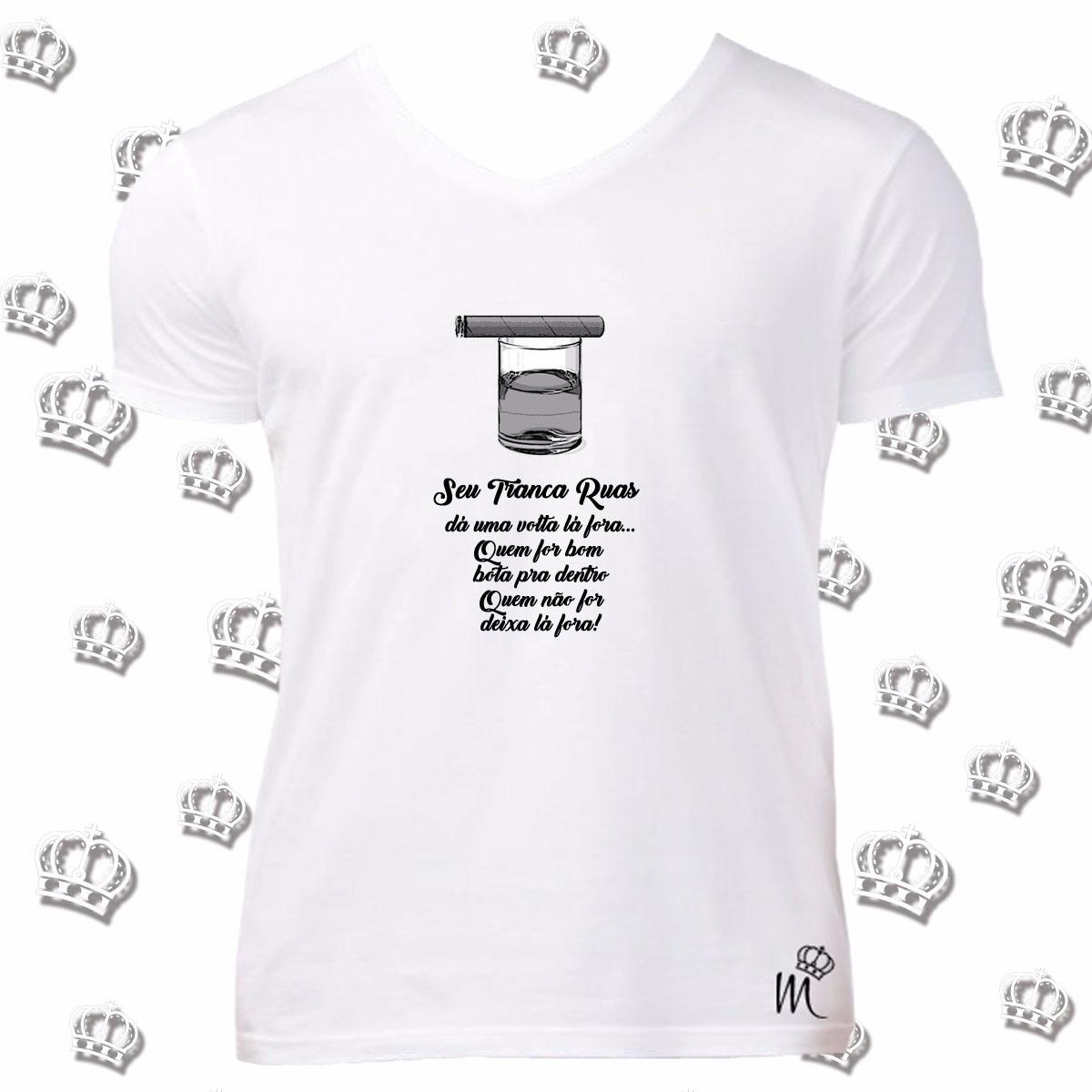 Camiseta Gola V Exú Tranca Ruas Frase Umbanda Candomblé