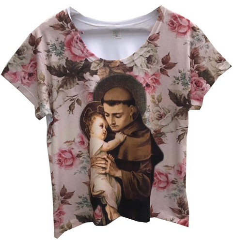 4d8cb4b09 Camiseta Gospel Feminina Santo Antônio Blusa Religiosa 4 Pcs - R ...