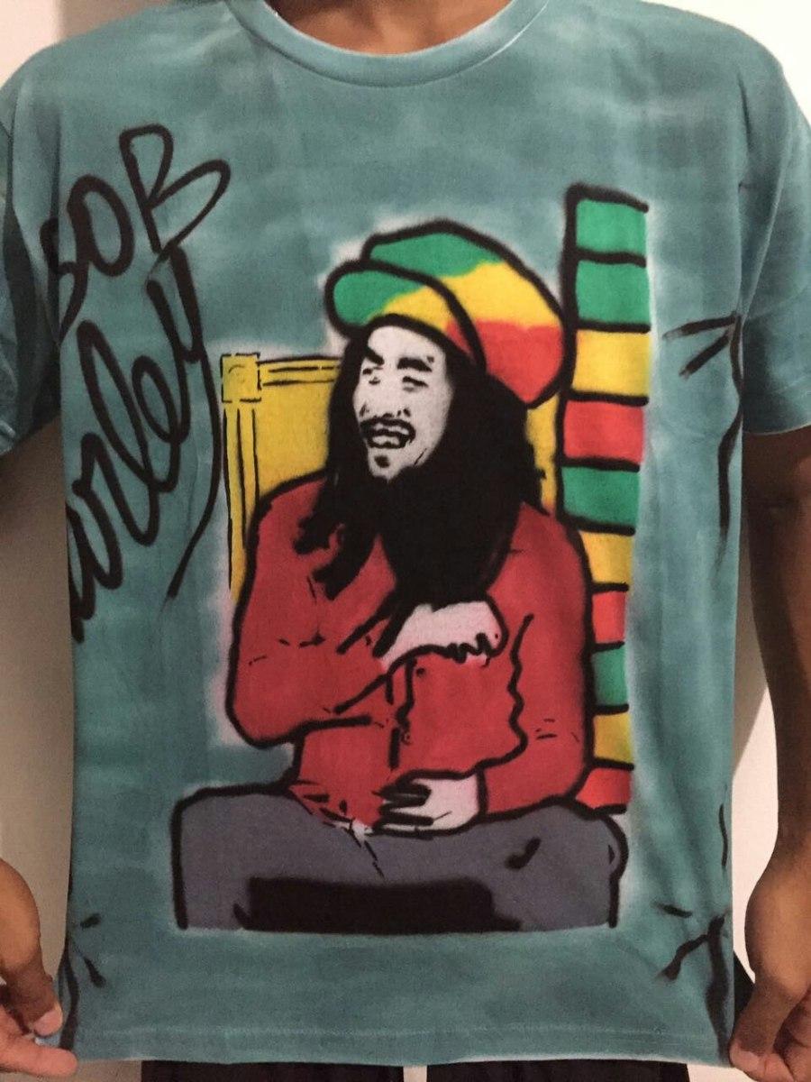 dff048819 Camiseta Grafitada Do Bob Marley O Rei Do Reggae - R  60