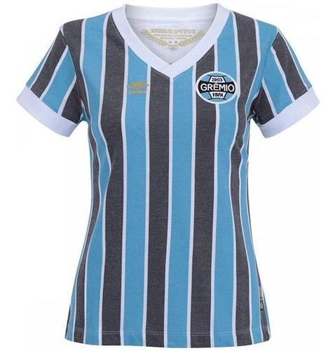 camiseta grêmio retro feminina 1983 umbro original tricolor