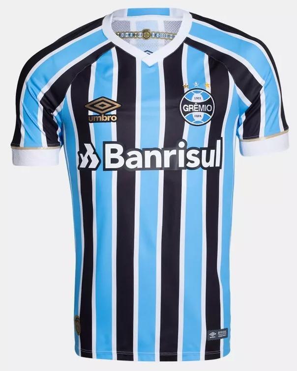 ba376adab Camiseta Grêmio Umbro Oficial Masculina 2018 19 Com Número - R  199 ...