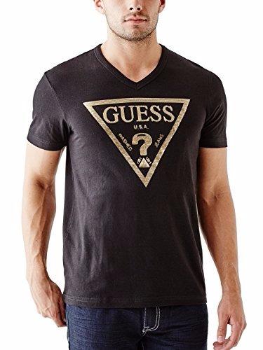 camiseta guess cuello en v  negro    xs