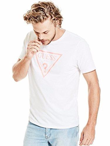 camiseta guess de neón del logotipo del triángulo l