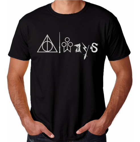 camiseta harry potter always hogwarth simbolos camisa nerd
