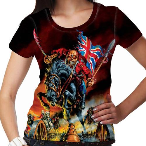 camiseta heavy metal iron maiden the trooper london feminina