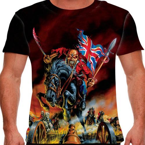 camiseta heavy metal iron maiden the trooper london masculin