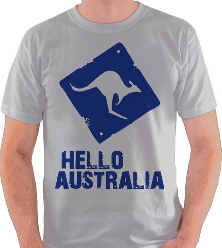 camiseta hello australia camisa blusa canguru branca cinza