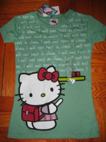 camiseta hello kitty small nina verde con brillos ( 038 )