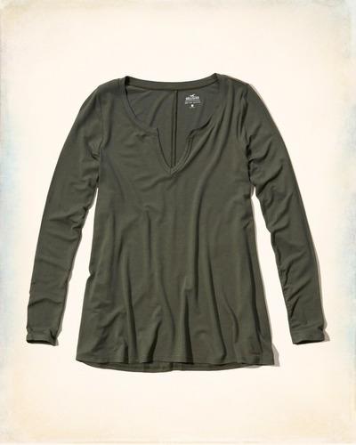 camiseta hollister feminina original tam pp verde escuro