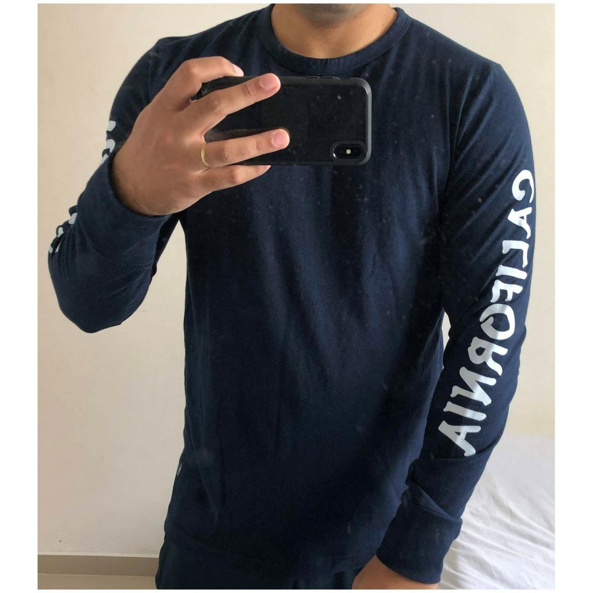 fd381ec41b camiseta hollister manga longa azul m - original. Carregando zoom.