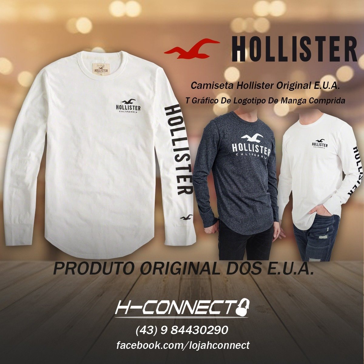 Camiseta Hollister Manga Longa - Original Eua - R  210,00 em Mercado ... 81f22d6e0b