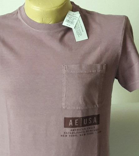 camiseta hombre american eagle original color mora  m/38-39