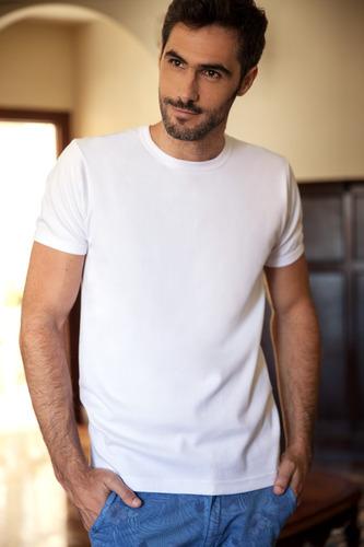 camiseta hombre manga corta interlock escote v/o tres ases
