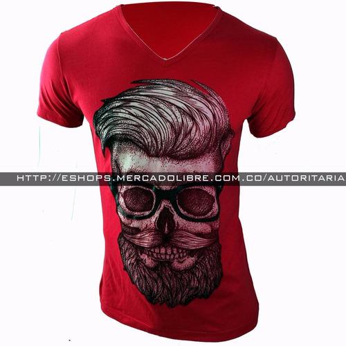 camiseta hombre skull ajuste al cuerpo, no destiñe exclusiva