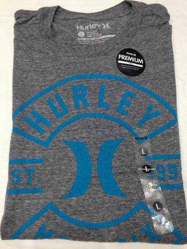 camiseta hurley cuello redondo estampado 100% orig talla l