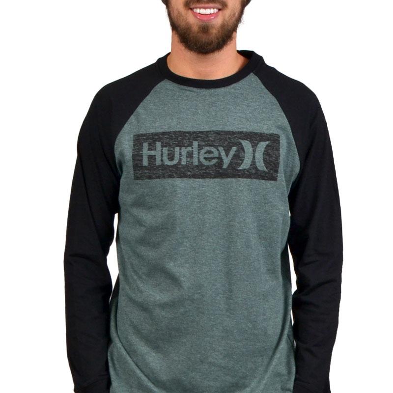 camiseta hurley manga longa raglan rectangle verde. Carregando zoom. e77537b55fa