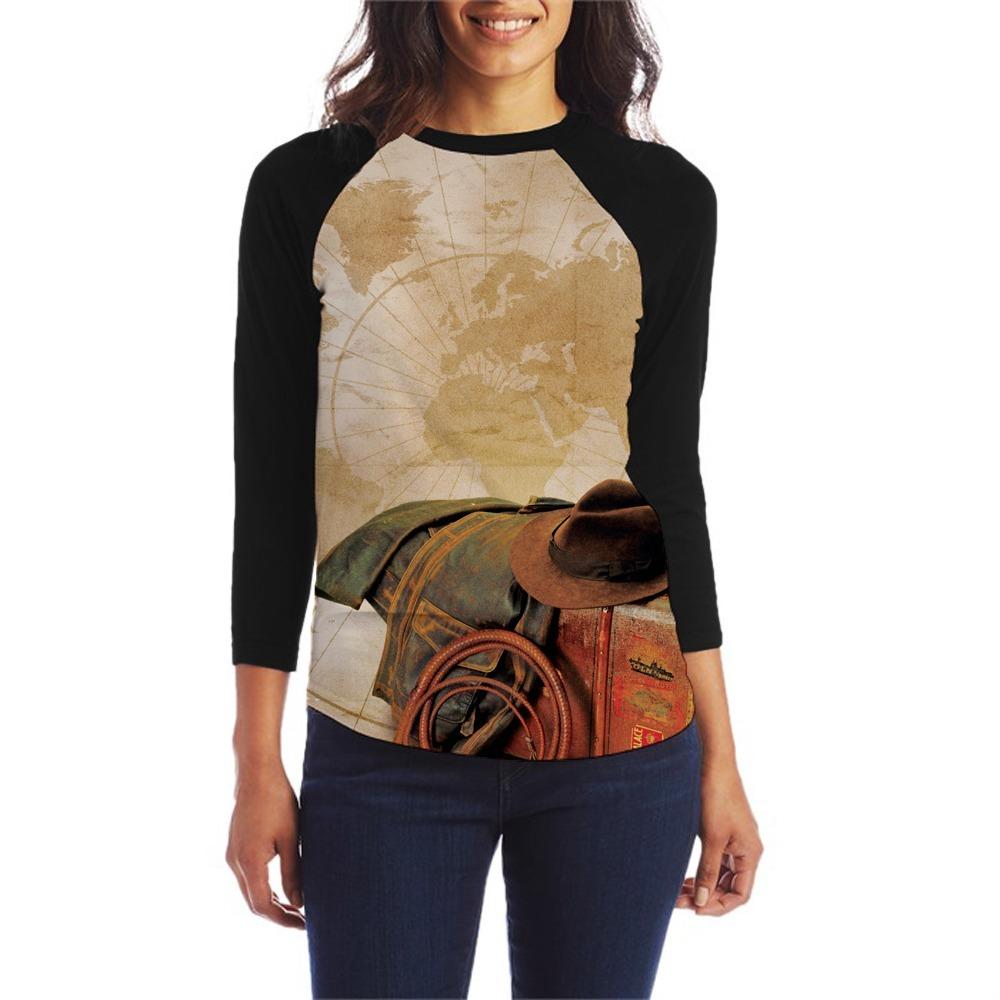 camiseta indiana jones filme camisa raglan blusa feminina. Carregando zoom. baff0c3f6fa