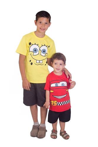 camiseta infantil bob esponja  e relâmpago mcqueen