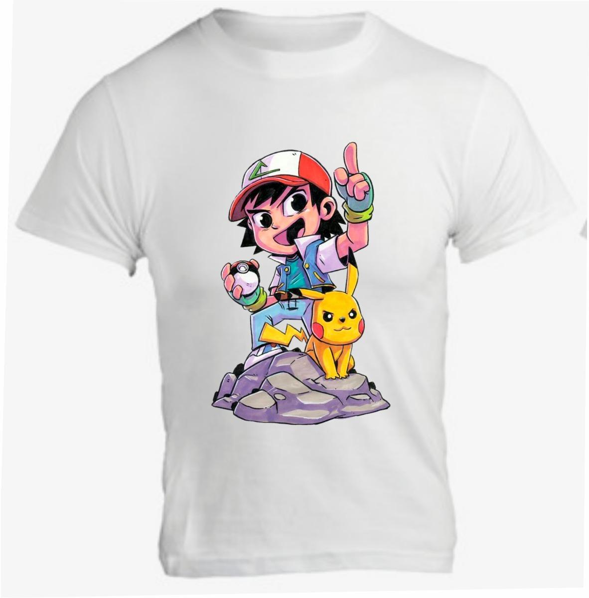 cd3ae83125 camiseta infantil chibi anime pokemon ash mod 27. Carregando zoom.