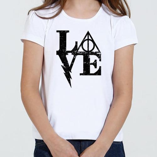 camiseta infantil feminina harry potter love reliquias