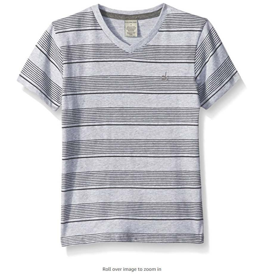 126b7880b8 camiseta infantil gola v - cinza listrada - calvin klein. Carregando zoom.