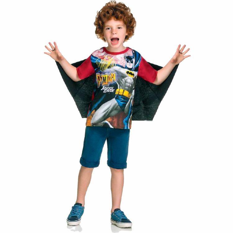 Camiseta Infantil Liga Da Justiça Batman Com Capa - R  34 7290bd100c2