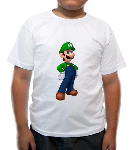 camiseta infantil luigi - super nintendo