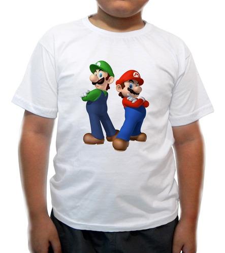 camiseta infantil mário & luigi braços - super nintendo