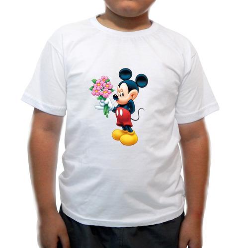 camiseta infantil mickey levando flores