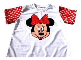 c0c2d56a729210 Camiseta Infantil Minnie Manga Vermelha Personalizada