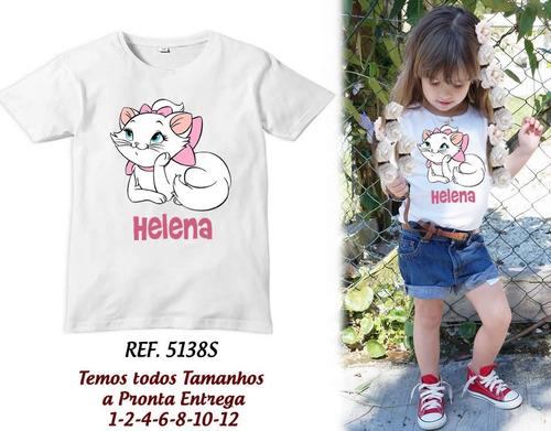 camiseta infantil personalizada c/ nome-frases gatinha marie