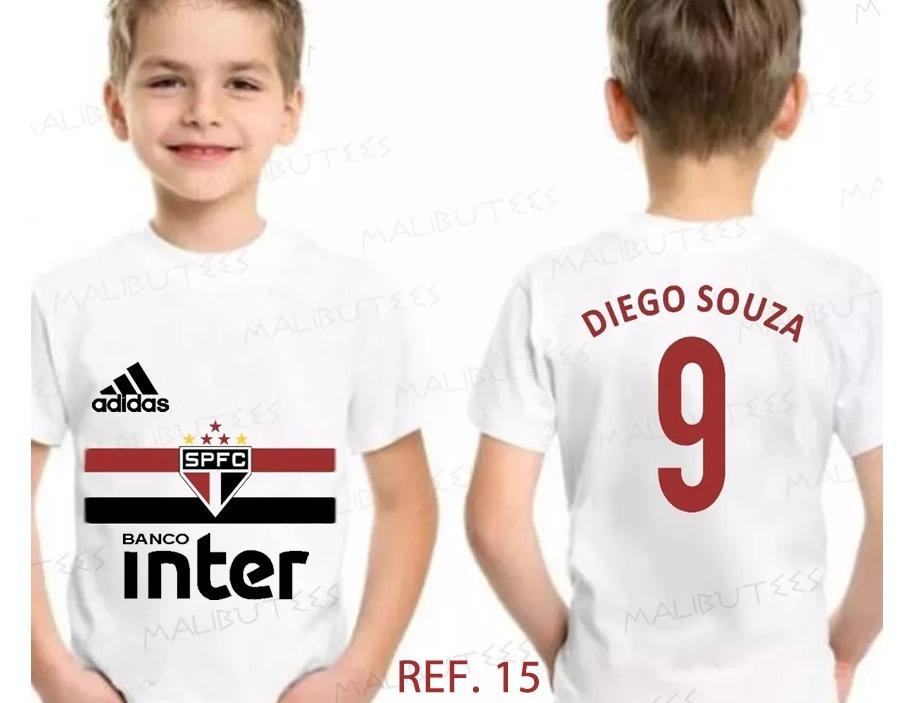 Camiseta Infantil Personalizada Time São Paulo Diego Souz 25 - R  34 ... a3fd5dc3e99cd